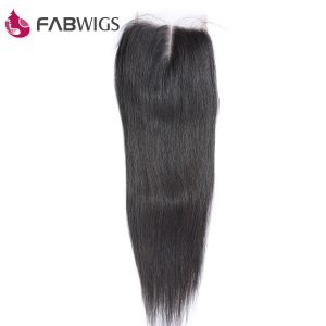 Fabwigs Peruvian Silky Straight 5x5 Lace Closure Middle Part 100% Human Hair Closure Remy Hair Piece Free Shipping