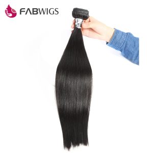 Fabwigs Peruvian Silky Straight Hair Bundles 100% Human Remy Hair Weave Bundles Extensions Double Weft 3/4 Bundles are Available