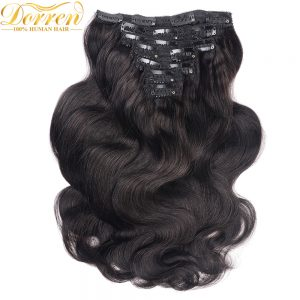 Doreen  16-28Inch Double Weft 200G Thicker Full Head Clip In Human Hair Extensions  Malaysia Body Wave Remy Hair Can be dye