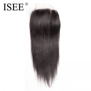 ISEE Straight Hair Closure Lace Based Free Part Hand Tied Remy Human Hair Extension Free Shipping Can Be Dyed