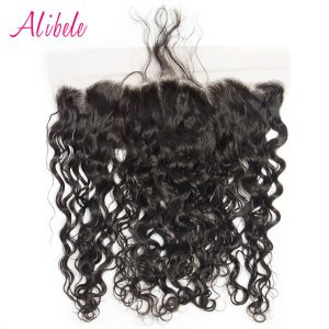 "Alibele Hair Malaysian Water Wave 13""x 4"" Ear to Ear Lace Frontal Closure with Baby Hair Pre-Plucked 100% Remy Human Hair Weaves"