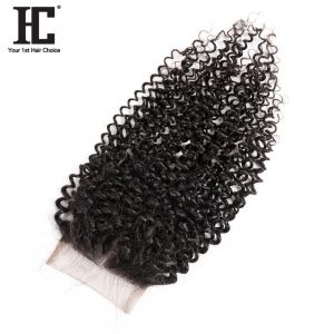 HC Hair Malaysian Kinky Curly Lace Closure Human Hair Pieces 130% Density Closures Middle Part Remy Hair Bundles With Baby Hair