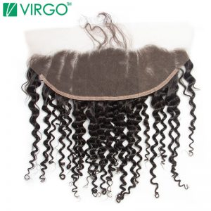 Virgo Pre Plucked Lace frontal Weave Closure Curly Medium Brown Lace Base Remy Human Hair Natural Hair Line With Baby Hair