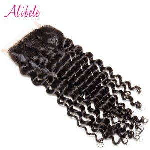"Alibele Free Parting Malaysian Deep Curly Hair Lace Closure Bleached Knot 4""x 4"" Swiss Lace 100% Remy Human Hair Weaving"