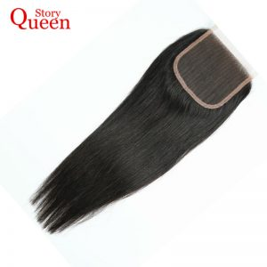 Queen Story Free Part Lace Closure Malaysian Straight Remy Hair 100% Human Hair Natural Color 10-22 Inch Free Shipping