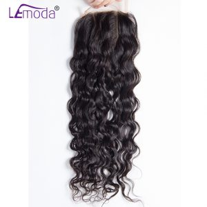 Le Moda Malaysian Water Wave 4x4'' Swiss Lace Closure 100% Human Hair Closure Natural Black Free Part Remy Hair Free Shipping