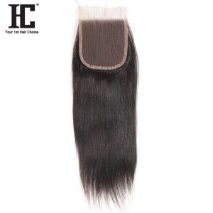 HC Hair Products Remy Hair Extensions 4x4 Lace Closure Free Part Straight Human Hair Closure Density 130% 8-18inch Natural Color