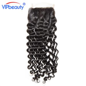 Vipbeauty Malaysian Deep curly remy hair 4x4 lace closure 100% human hair free part closure natural color