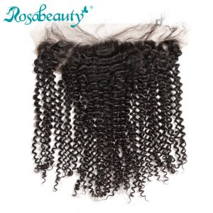 Rosa Beauty Hair Products Malaysian Kinky Curly Hair Lace Frontal Closure 13x4 Pre Plucked With Baby Hair Human Remy Hair
