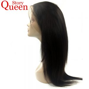 "Queen Story Hair Malaysian Straight Hair 360 Lace Frontal Closure Pre Plucked Natural Color 10""-22"" Remy Human Hair"