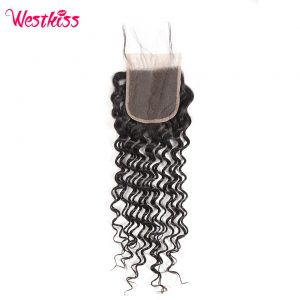 West Kiss Remy Hair Lace Closure 4x4 inch Malaysian Deep Wave 100% Human Hair Free Part Style Free Shipping