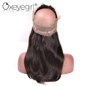 Oxeye girl Pre Plucked 360 Lace Frontal Closure Malaysian Straight Hair Bundles Remy Human Hair Closure With Baby Hair