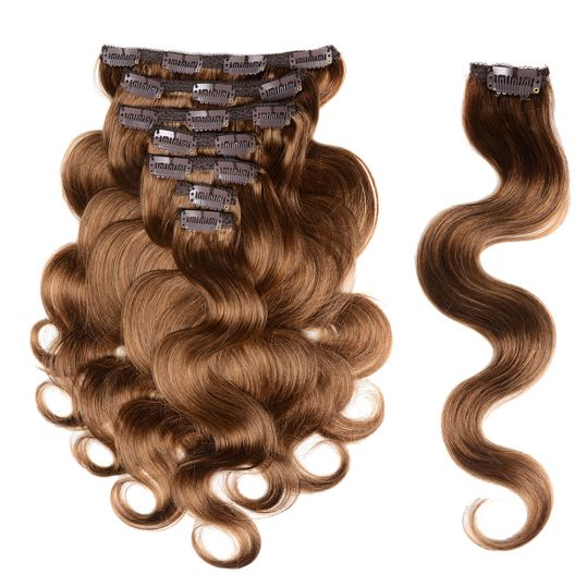 Doreen Malaysia Remy Hair Body Wave Clip In Hair Extensions 100% Human Hair Clip Ins  7Pcs/set 120gram #8 Light Brown