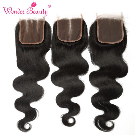 Wonder Beauty Hair Malaysia Body Wave Remy Hair Middle Part Lace Closure 130% Density Swiss Lace Hand Tied Closure free shipping