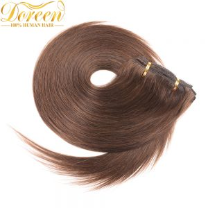 "Doreen #4 Chocolate Brown Malaysia Remy Human Hair Full Head Set 120G 7 Pecs 14""-26"" Straight Clip In Human Hair Extensions"