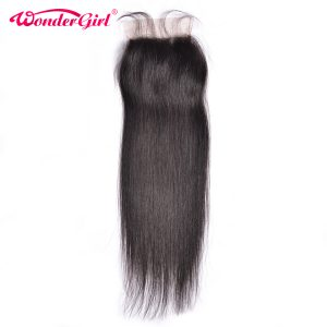 "Wonder girl 4x4 Straight Closure With Baby Hair Natural Color Malaysian Remy Hair  8""-22"" 100% Human Hair  Free Shipping"