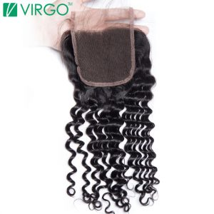 Virgo Curly Lace Closure Free Part With Baby Hair 4x4 Medium Brown Swiss Lace Base 100% Remy Human Hair Free Shipping