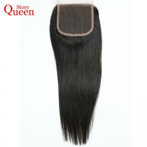 Queen Story Hair Malaysian Straight Hair Free Part Lace Closure Soft Remy Human Hair Closure Natural Color 10-22inch Free Ship