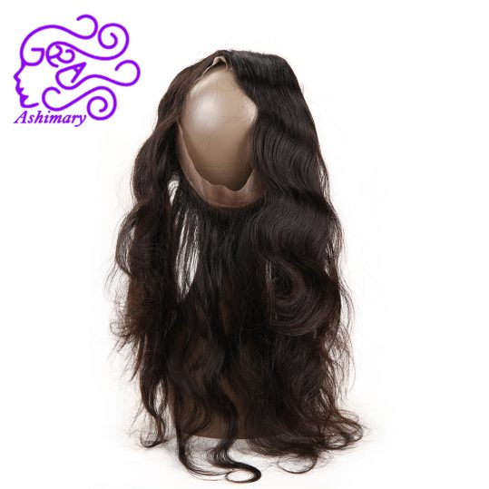 Ashimary Malaysian hair Body Wave Pre Plucked 360 Lace Frontal Closure With Baby Hair Can Be Bleached Adjustable Free Shipping