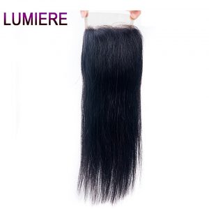 Lumiere Hair 4*4 Lace Closure Indian Straight Hair 130% Density Human Hair Closure Remy Hair Natural Color One Pc Free Shipping