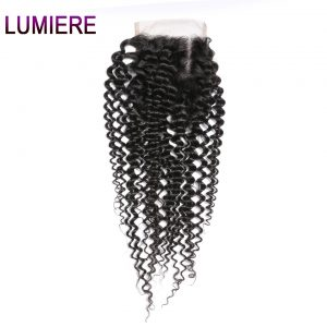 Lumiere Hair Indian Afro Kinky Curly Hair Lace Closure 130% Density Remy Human Hair Closure Free Part Natural Color 8-20 inch