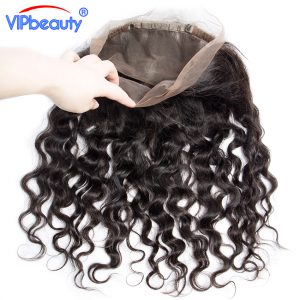 VIP beauty water wave pre plucked 360 lace frontal closure with baby hair and natural hairline Indian remy hair 100% human hair