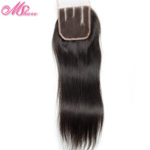 Straight Remy Hair Three Part Lace Closure Swiss Lace Hand Tied Closure 100% Indian Human Hair Natural Color Mshere Hair Product