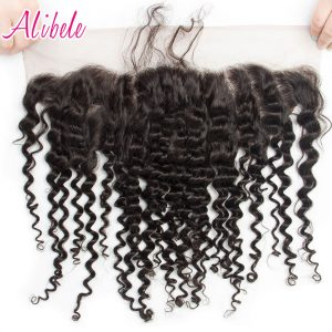 Alibele Indian Deep Curly Hair 13x4 Ear To Ear Lace Frontal Closure With Baby Hair Pre Plucked Natural Hairline Remy Human Hair