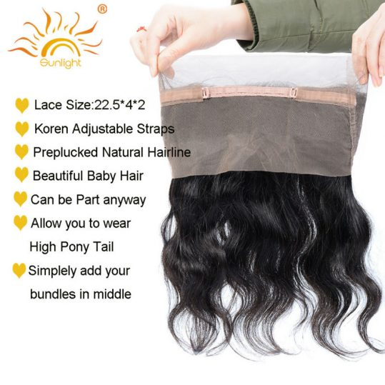 Sunlight Human Hair Indian Body Wave 360 Lace Frontal Closure With Baby Hair ,130% Density With Natural Hairline Remy Human Hair