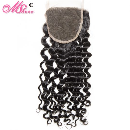 Mshere Hair Indian Culry hair Lace Closure Swiss Lace Free Part Remy Human Hair Lace Closure 130% Density 1 Piece 10-20inch