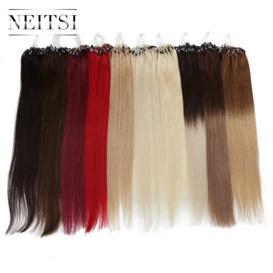 "Neitsi Straight Indian Loop Micro Ring Hair 100% Human Micro Bead Links Remy Hair Extensions 16"" 20"" 24"" 1g/s 50g 20 Colors"