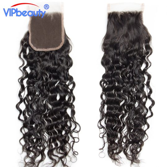 VIP beauty Indian water wave remy hair 100% human hair 4x4 free part swiss lace closure 130% density medium brown lace free ship