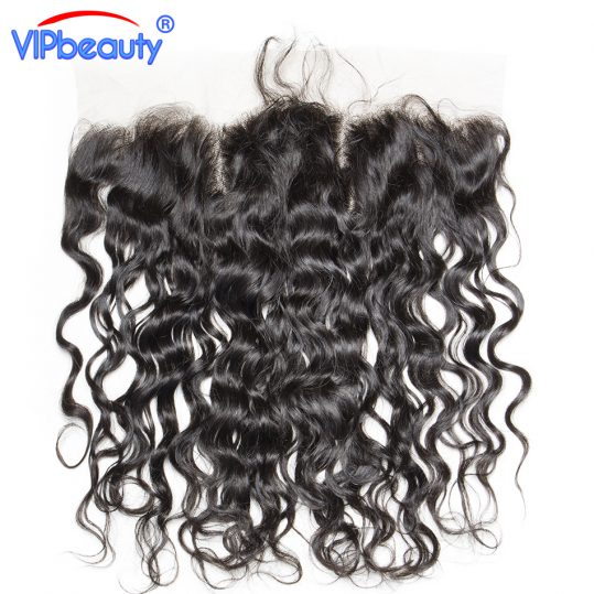 VIPbeauty Indian water wave Remy hair 13x4 ear to ear lace frontal closure human hair free part 130% density ,Medium brown lace