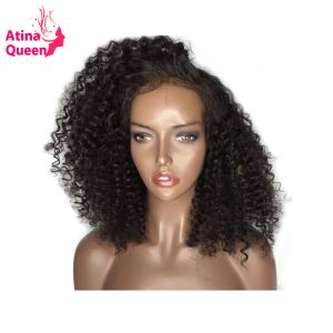 Atina Queen 180 Density Kinky Curly Glueless Lace Front Human Hair Wigs with Baby Hair for Black Women Remy Natural Hairline