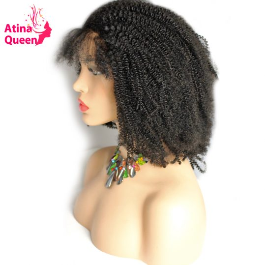 Atina Queen Afro Kinky Curly Wig with Baby Hair African American Lace Front Human Hair Afro Wigs for Black Women Remy Products