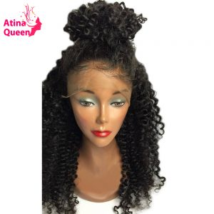 Atina Queen Hair Products Glueless Full Lace Human Hair Wigs for Black Woman Kinky Curly Wig with Baby Hair remy Free Shipping