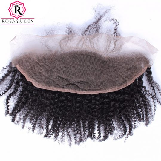 Rosa Queen 13x4 Lace Frontal Closure With Baby Hair Mongolian Afro Kinky Curly Remy Hair Natural Black 100% Human Hair