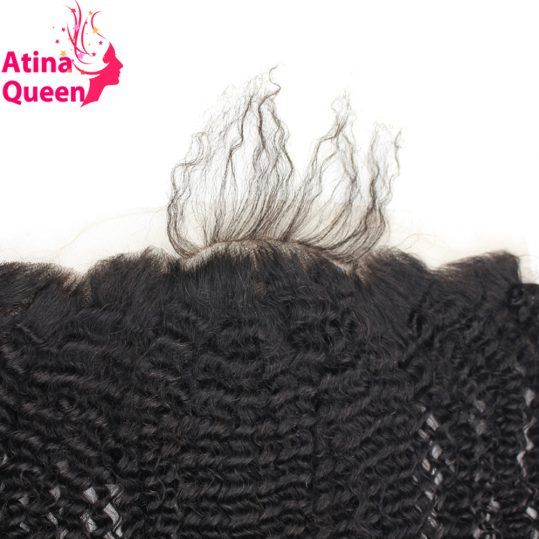 Atina Queen Afro Kinky Curly 13x4 Ear to Ear Lace Frontal Closure with Baby Hair Natural Hairline 100% Remy Human Hair Free Ship