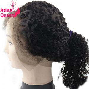 Atina Queen Kinky Curly 360 Lace Frontal With Baby Hair Pre plucked Mongolian Afro Kinky Curly Closure 100% Remy Human Hair
