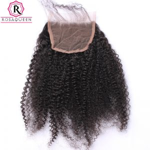 Rosa Queen Afro Kinky Curly Lace Closure 100% Human Hair Mongolian Remy Hair Natural Black Color