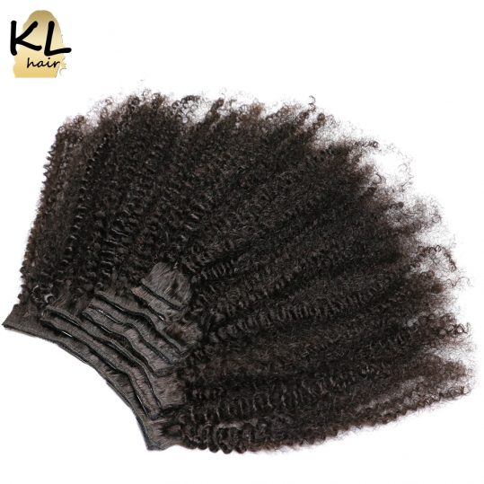 Mongolian Afro Kinky Curly Clip in Human Hair Extensions Natural Color Remy Hair Clip Ins 8Pcs/Set Free Shipping by KL Hair