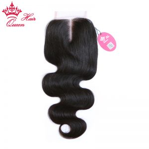 Queen Hair Products Swiss Lace Closure Brazilian Virgin Hair Middle Part Body Wave 130% density Free Shipping