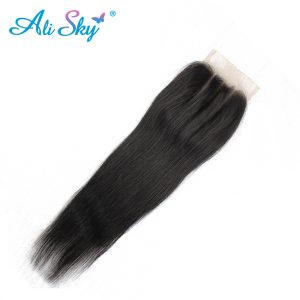 Ali Sky Hair Brazilian Straight Lace Closure Three Part 4x4 Swiss Lace Hand Tied 8-22 Inch 120% Density No Tangle can be dyed
