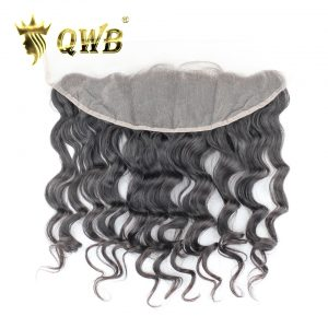 QWB Loose Wave Free shipping 12''/14''/16''/18'' Brazilian Virgin Hair Nature Color Lace Frontal