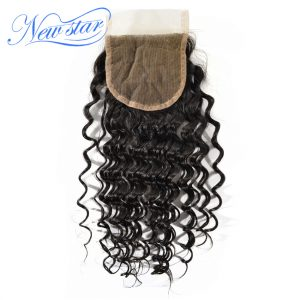 New Star Brazilian Lace Deep Wave Free Part Closure Medium Brown 4x4 Swiss Lace Natural Color Virgin Human Hair Free Shipping