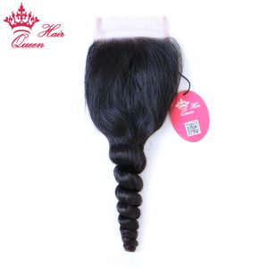 Queen Hair Products Brazilian Virgin Hair Swiss Lace Closure Loose Wave 100% Human Hair 3.5X4 Free Shipping