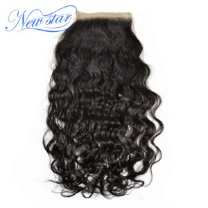 Guangzhou New Star Brazilian Natural Wave Virgin Human Hair 4''x4'' Swiss Lace Closures Free Part Bleached Knots Natural Color