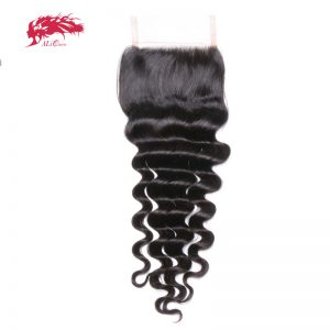 Ali Queen Brazilian Loose Deep Lace Closure Virgin Hair 4*4 Siwss Lace with 130% density Free Shipping