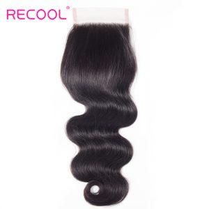Recool Hair Brazilian Virgin Hair Body Wave Lace Closure Free Part 10-20 Inch 130% Density Natural Human Hair 4x4 Lace Closure