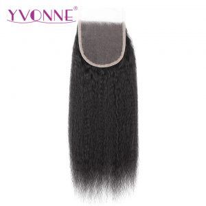 YVONNE Brazilian Kinky Straight Virgin Hair Closure 4x4 Free Part Human Hair Lace Closure Natural Color Free Shipping